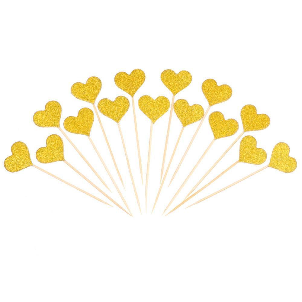 50pcs heart cupcake toppers gold glitter heart