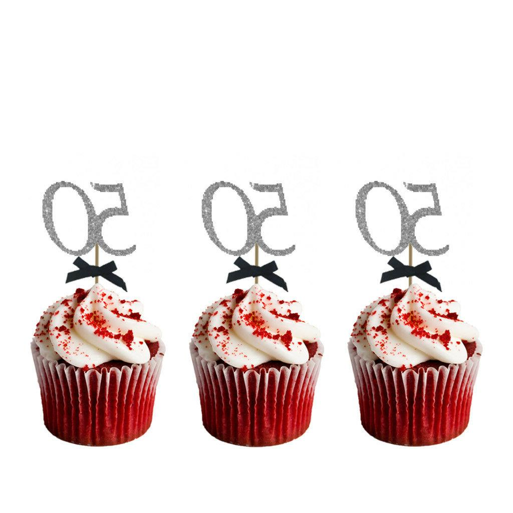 50th Birthday Cupcake Toppers with Bows-Glittery Silver & Bl