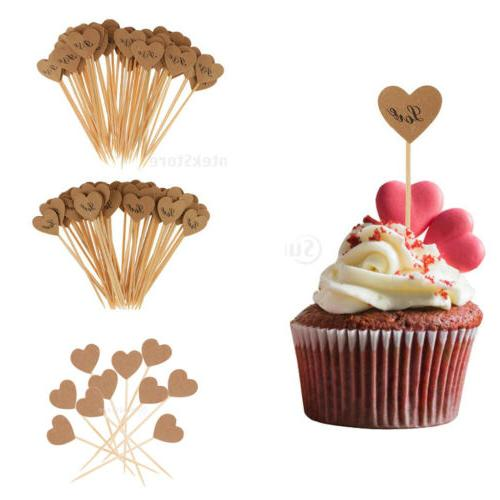 50x Vintage Kraft Heart Cupcake Topper Food Pick Wedding Eng