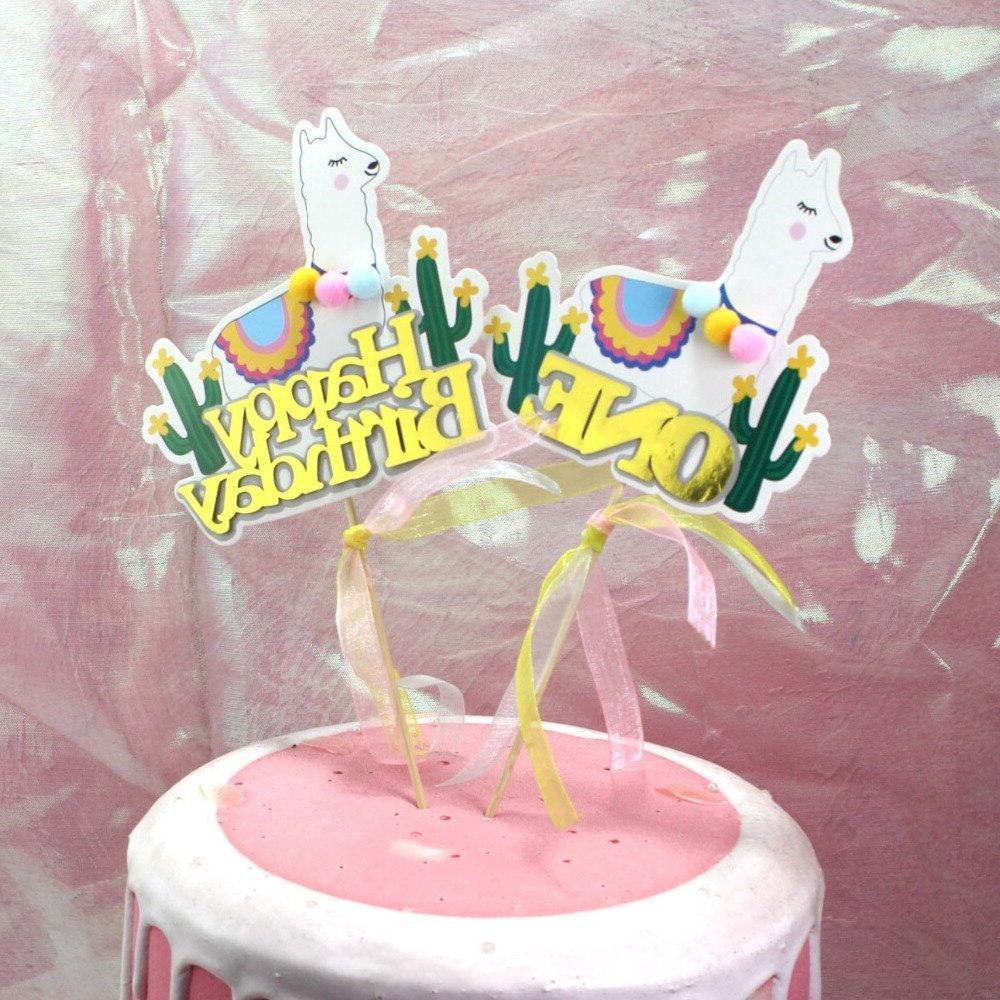 5pcs <font><b>Topper</b></font> Lama Party Decorations Cartoon Cute Alpaca Party <font><b>Supplies</b></font> <font><b>topper</b></font>