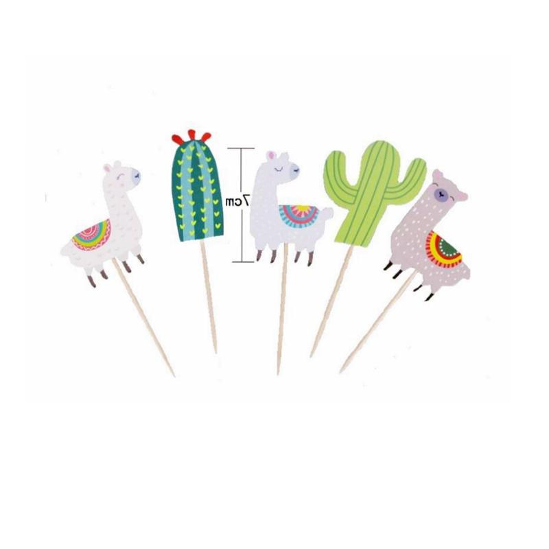 5pcs Cactus Unicorn Cake <font><b>Topper</b></font> <font><b>Toppers</b></font> Wedding Cake Jungle Summer Party