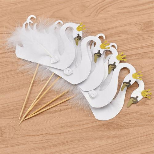 5pcs Swan Crown Feather Cupcake Toppers Party Birthday Party
