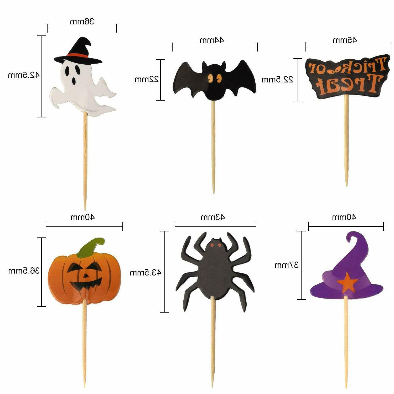 60 Cupcake Toothpick Toppers Decoration Pumpkin