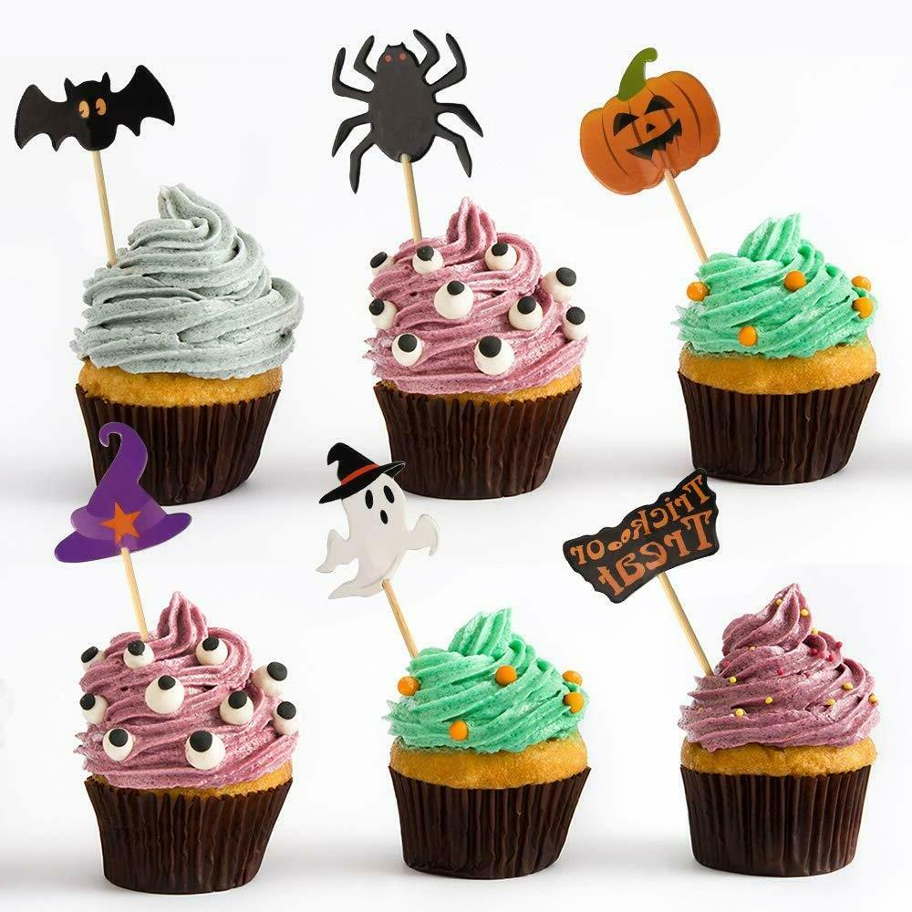 60 Pieces Toothpick Toppers Decoration Pumpkin