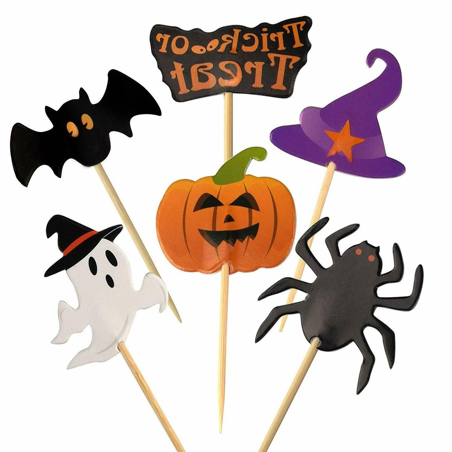 60 pieces halloween cupcake toothpick toppers flags