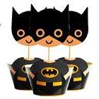 60 Toppers + 60 Wraps Batman Paper Cupcake For Kids Birthday