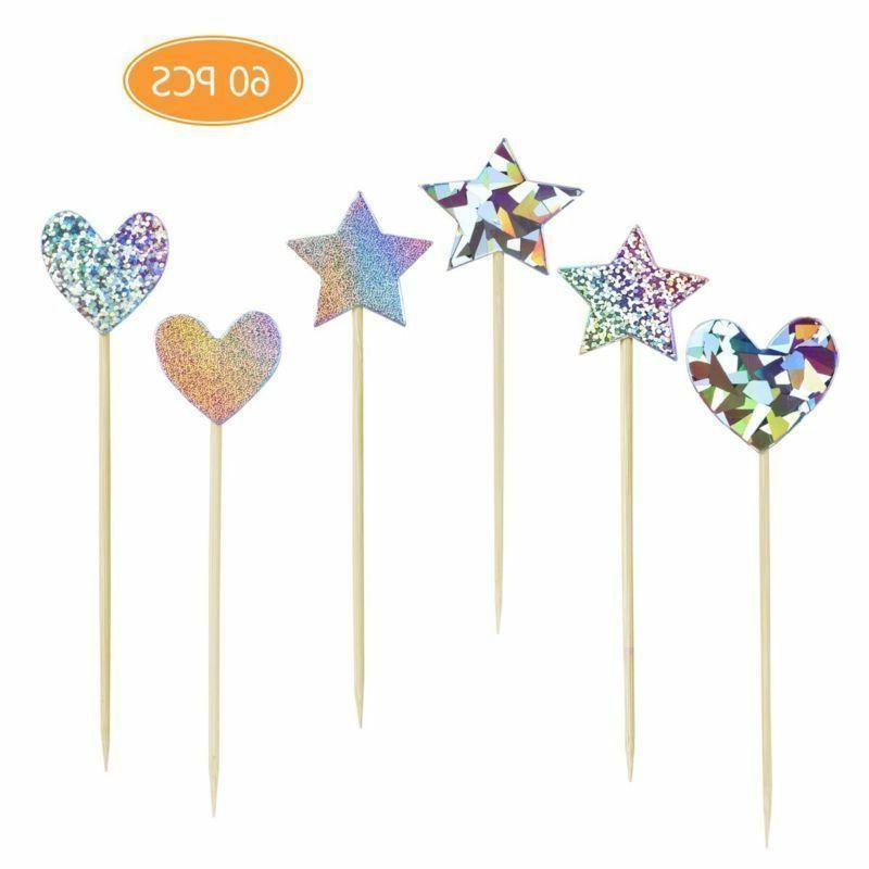 60pcs cupcake toppers glitter star heart love