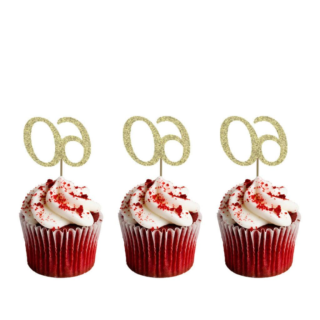 60th Birthday Cupcake Toppers - Number 60 Party – Glittery