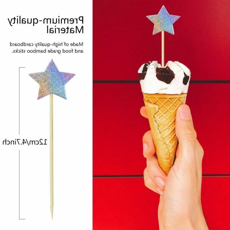 60x Cupcake Toppers Star Picks Party Decor DIY