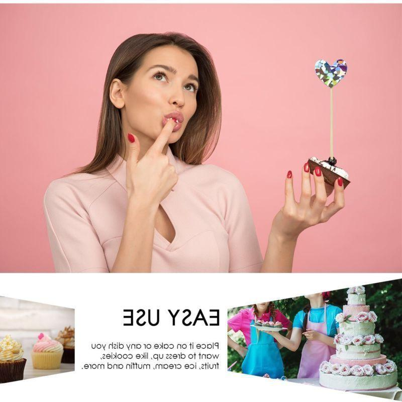 60x Cupcake Toppers Star Heart Cake Picks