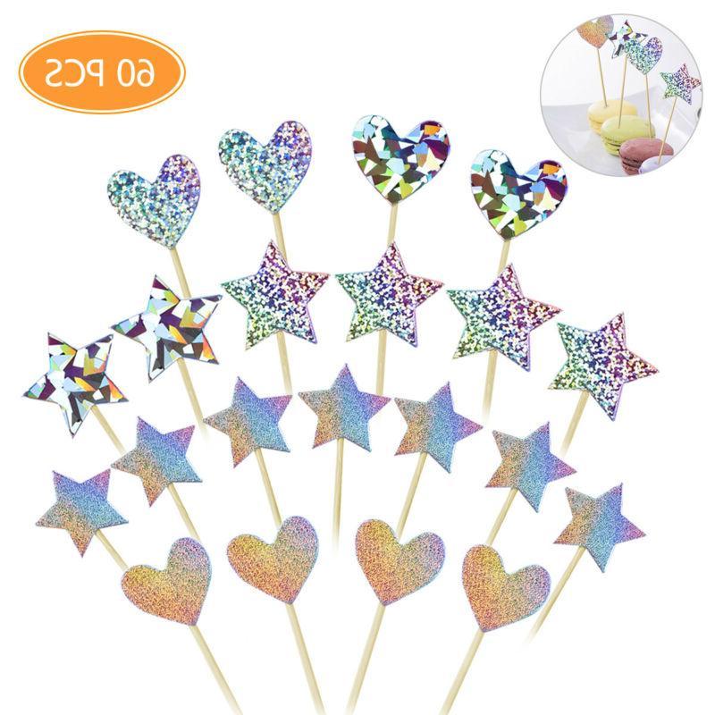 60x cupcake toppers glitter star heart love