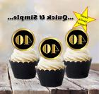#637. Black Gold Circles Cupcake Toppers 25th 50th 40th 60th