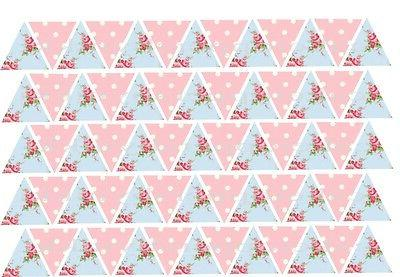 65 or 130 edible bunting flags pink