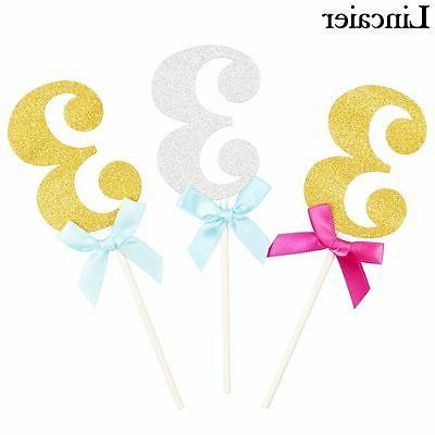 6pcs 3 Years Birthday Cupcake Toppers 3rd Third Party Decora