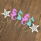 6pcs Mermaid Starfish Ocean Cupcake Toppers Cute Cake Decor