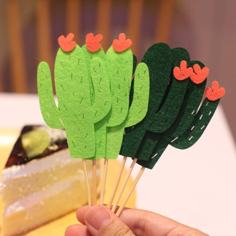 6pcs <font><b>Cactus</b></font> <font><b>Cupcake</b></font> <font><b>Topper</b></font> Mini Cake For Kids Birthday Decorating Shower