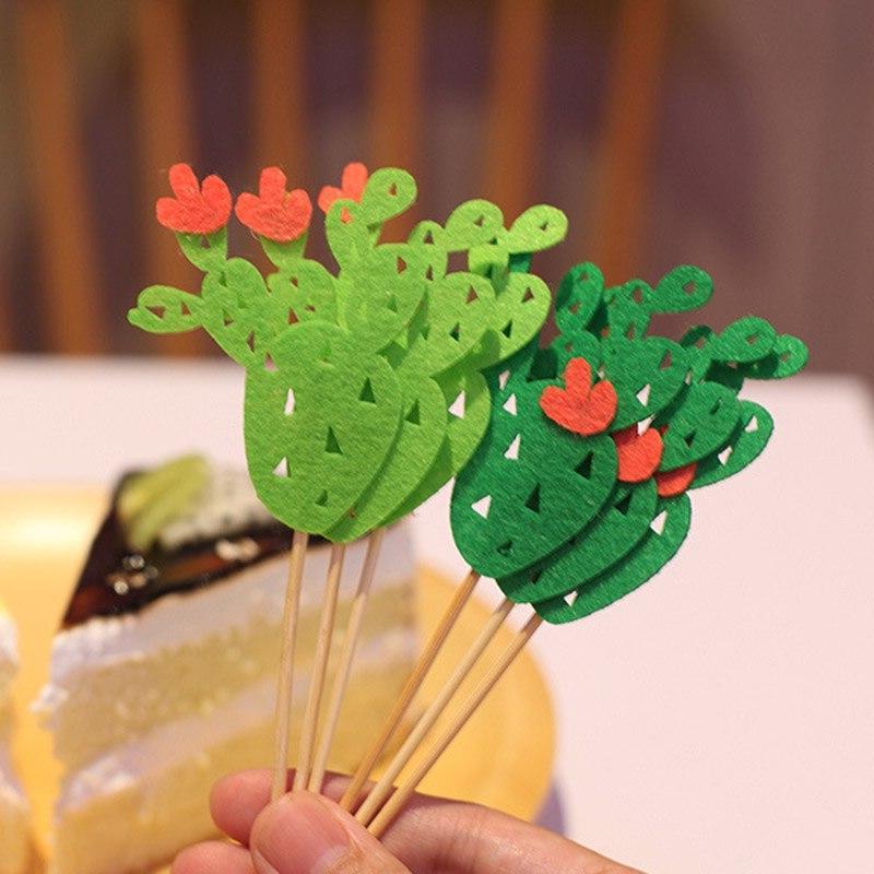 6pcs <font><b>Topper</b></font> Mini Plants Cake For Birthday Party Decorating Supplies