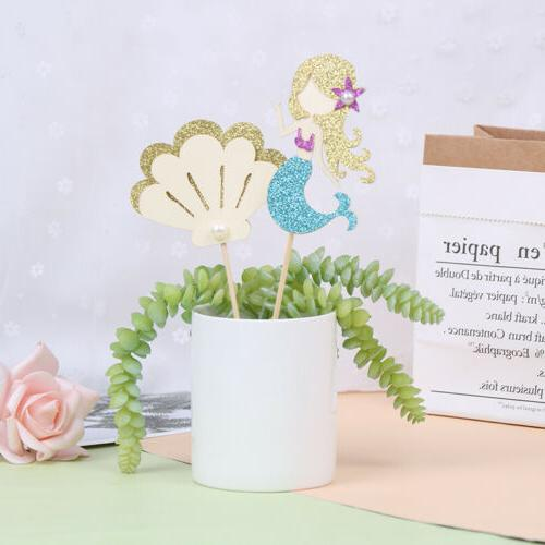 6PCS Mermaid Happy birthday Cake Toppers Baby Shower DIY SE