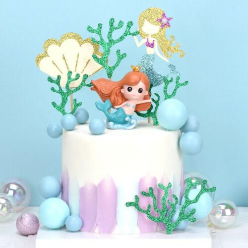 6pcs starfish mermaid happy birthday cake toppers