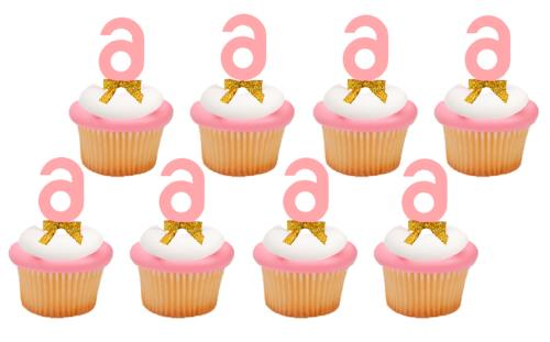 6th birthday anniversary pink number cupcake topper