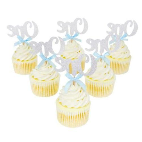 One Year Birthday Cupcake Toppers Anniversary Party Cake Dec