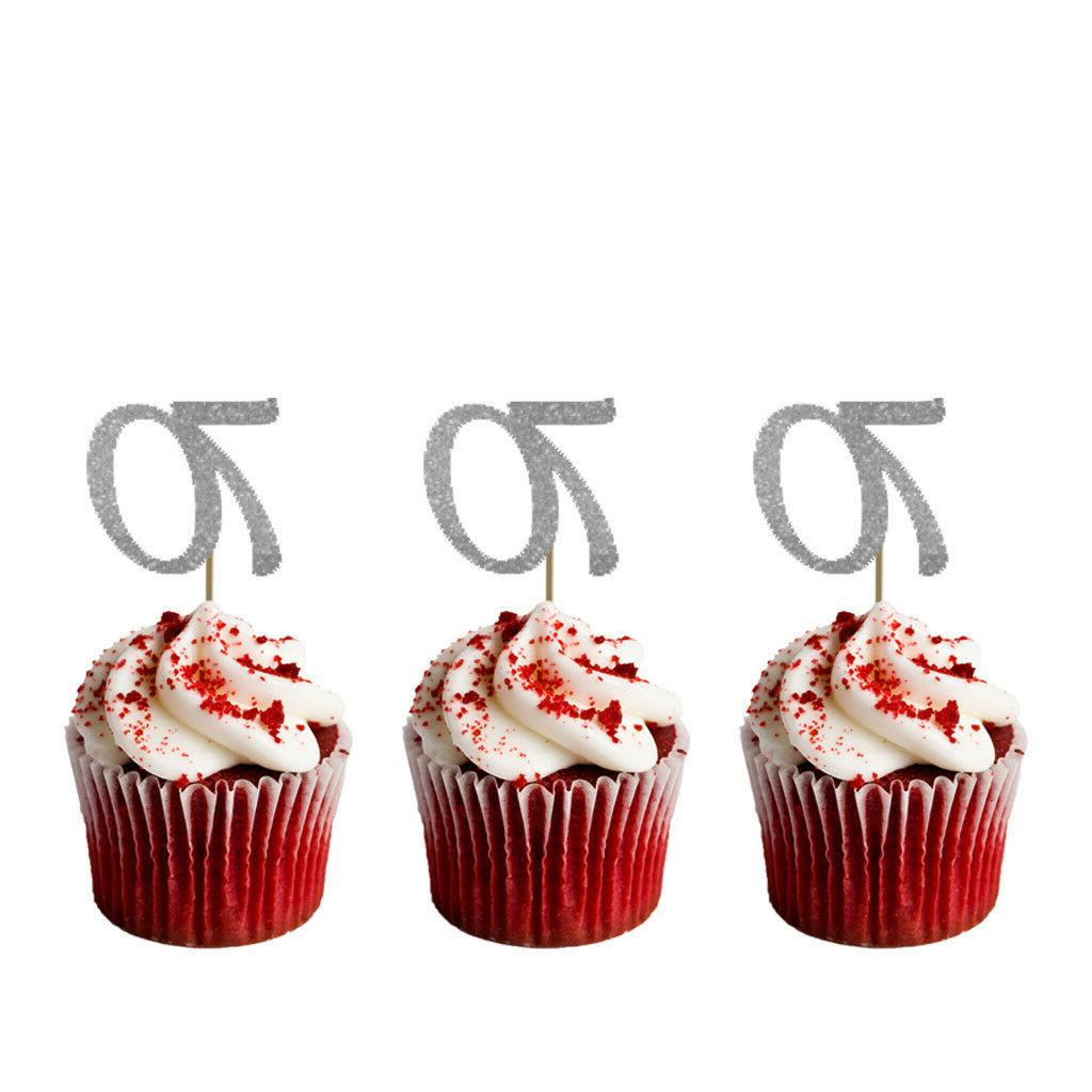 70th Cupcake Toppers – Glittery Silver - Pack of 10 - Numb