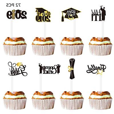 72 pieces graduation cupcake toppers non toxic