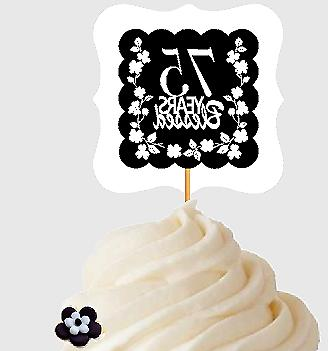 75th Birthday / Anniversary Blessed Cupcake Decoration Toppe