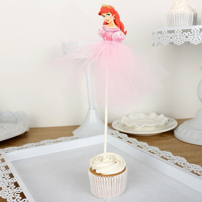 7pcs Princess Cupcake Toppers Decorations for Kids Birthday