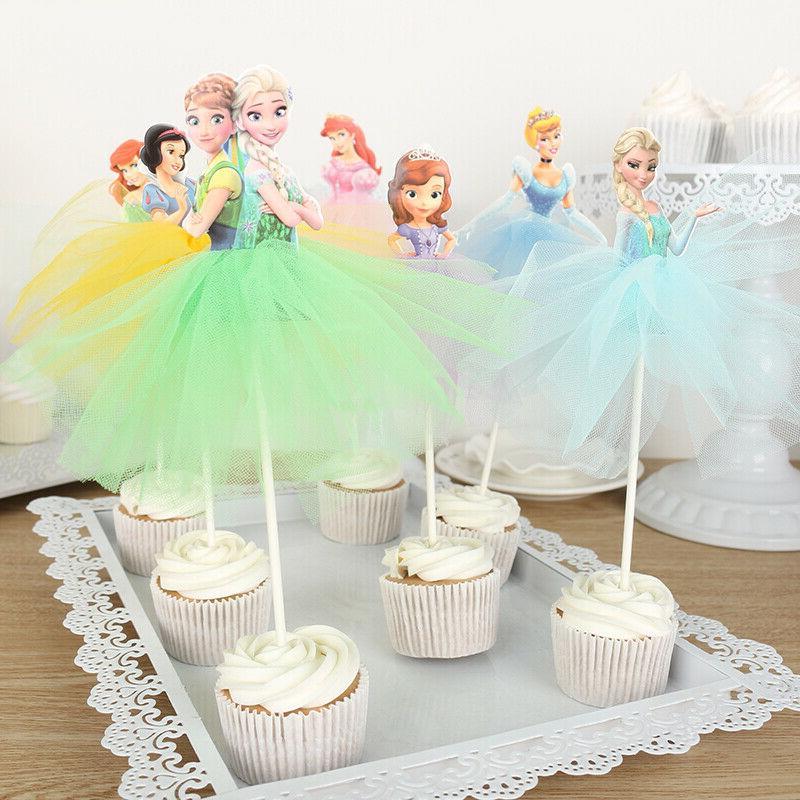 7pcs disney princess cupcake toppers cake decorations