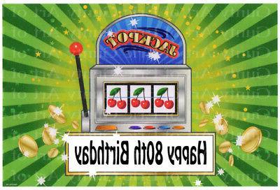 80th Birthday Las Vegas Casino Slot Machine ~ Frosting Sheet