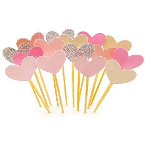 Cupcake Toppers 50Pcs Set, GUGUJI Funny Pink Heart DIY Glitt