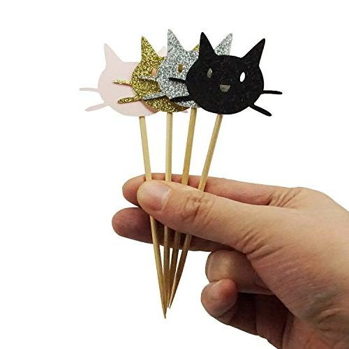 Shxstore Cat Cupcake Toppers Gold Silver Pink Cat Decorations Baby Birthday