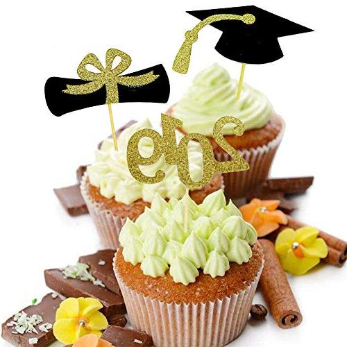 YuBoBo 2019 Toppers, Food/Appetizer For Graduation Decorations, Cap 48