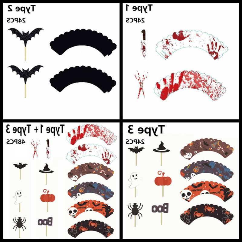 Accessory Wrappers Halloween Decorative Sticks Cake Toppers