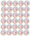 Adorable Pink Unicorn & Flowers Edible Cupcake Toppers Image