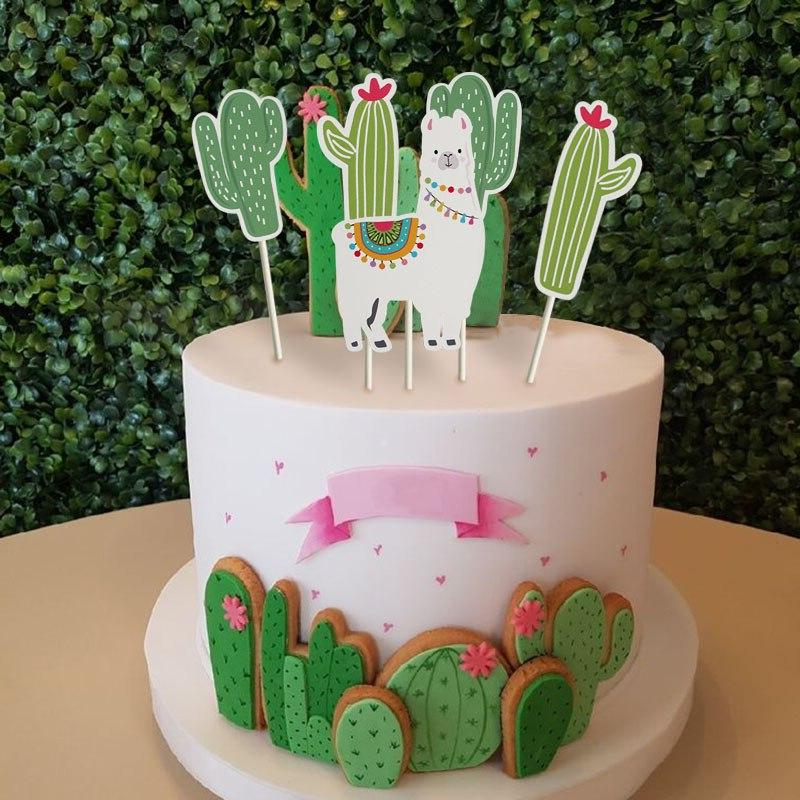 Animal Alpaca Party Cake <font><b>Toppers</b></font> Birthday for Kids Cake Cactus Party