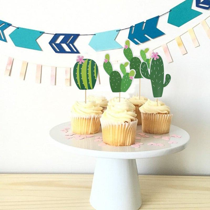Animal Party Cake <font><b>Toppers</b></font> for Flags Cactus Alpaca Party <font><b>Topper</b></font>