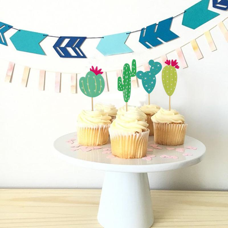 Animal Party <font><b>Toppers</b></font> Birthday for Cake Flags Cactus Party