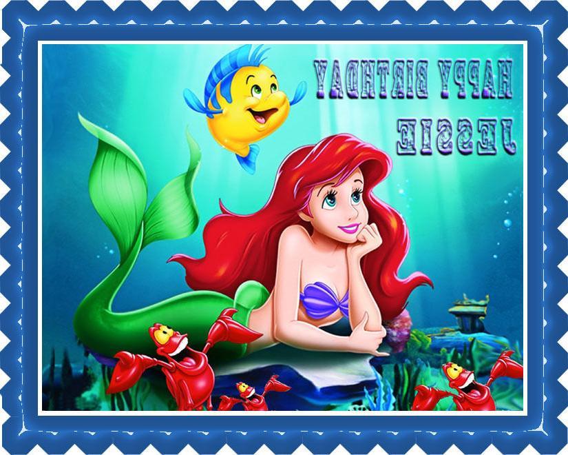 Ariel The Little Mermaid  - Edible Birthday Cake Topper OR C