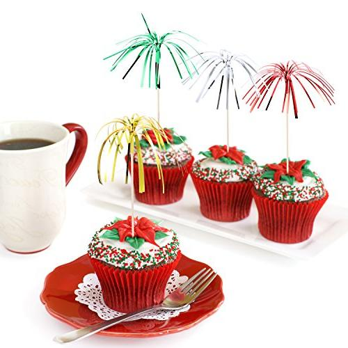 TecUnite Pieces Frill Picks Christmas Cupcake 9 Inch Tree Shape, Food Picks Supplies Decoration,
