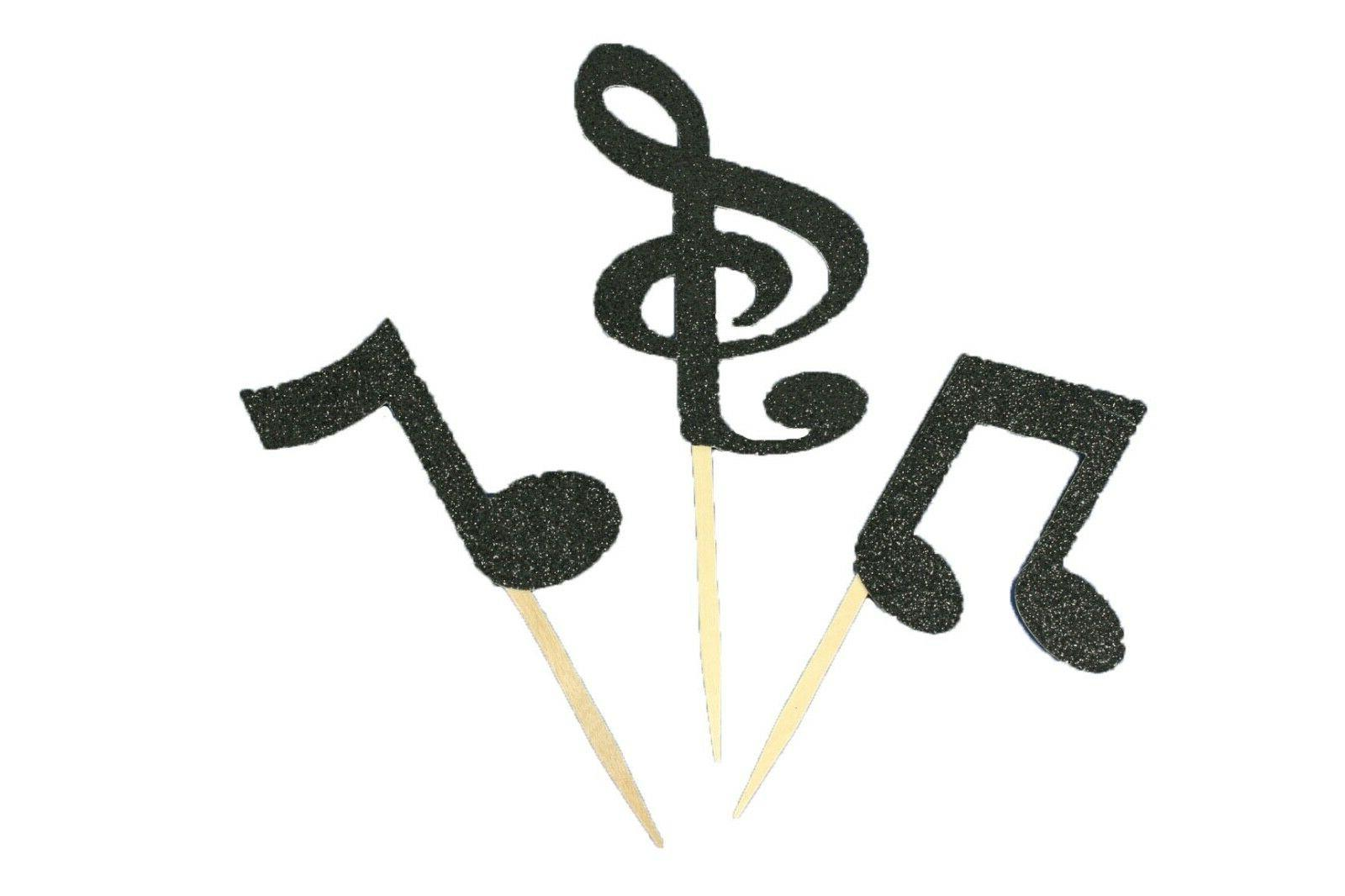 assorted glitter musical notes cupcake party toppers