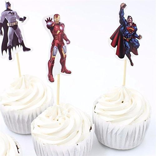 Pack 24 Avengers Topper Picks Boy Party Party Decoration