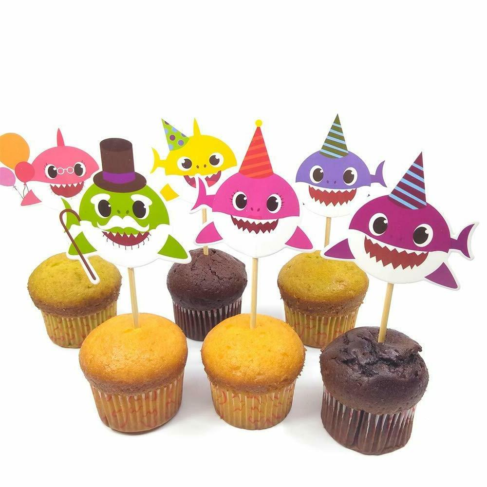 Baby Shark Birthday Topper , Cute Shark Cupcake Toppers