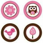 Baby Owls Girl {Pink & Brown} Edible Cupcake Toppers Decorat