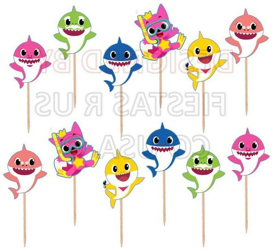 baby shark cupcake toppers 12 or 24