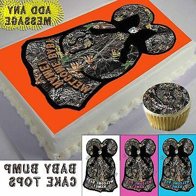 Baby Shower camo dress Cake or Cupcake toppers picture sheet