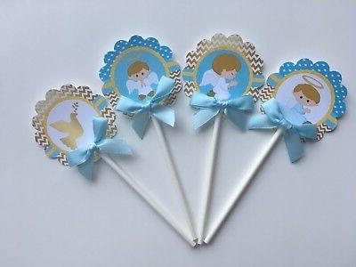 baptism cupcake toppers baptism theme gold