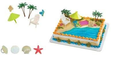 beach chair and umbrella cake topper