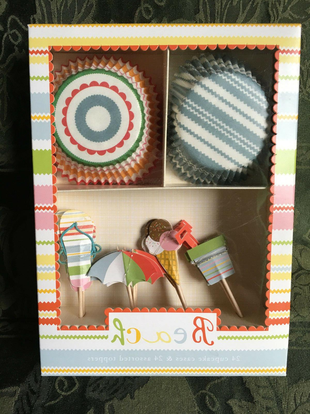Meri go Round Beach Cupcake Kit 24 Cupcake Cases & Toppers D